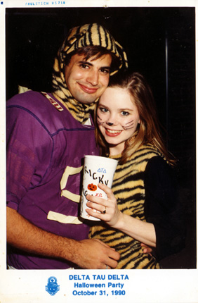 Delt Halloween party. An under-developed LSU football player and Mike the Kitty