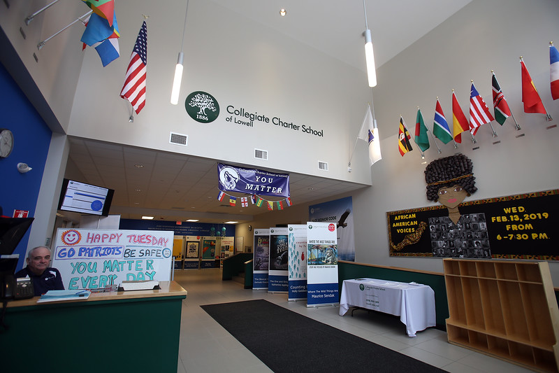 Lobby of Collegiate Charter School of Lowell, where Tom Clegg of Lowell is security and greeter. (SUN/Julia Malakie)