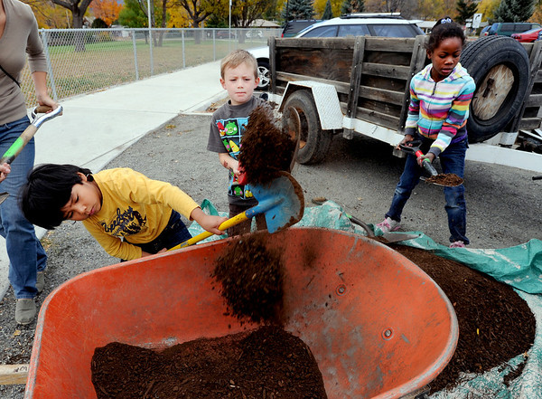 Cian Dowling-Davis, left Hayden Noffsinger, and Angelina Dowling-Davis, load up compost for next year's garden at Columbine.<br /> This year's  Columbine Elementary  garden harvest event celebrated the students' work and learnings in the garden. Participants had healthy food, made  artwork for the garden, painted pumpkins and enjoyed being together as a school community.<br /> Cliff Grassmick  / October 20, 2012