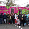 MilliporeSigma's mobile science lab, the Curiosity Cube, visits the Moody Elementary School in Lowell. Fifth graders pose for a group photo after visiting the Curiosity Cube. (SUN/Julia Malakie)