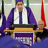 Ethan Roswell addresses the graduates during the 141st commencement ceremony at Cushing Academy in Ashburnham on Saturday morning. SENTINEL & ENTERPRISE / Ashley Green