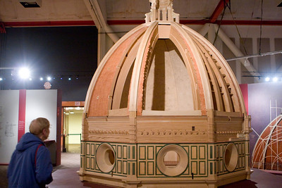 The cutaway side of the model of the Florence Cathedral revealed some of the brickwork design.