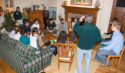 After dinner, the '12s gethered to receive information from current and recent students.