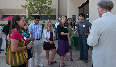 James von RIttmann '95, president of DAASV talking with the Big Green Bus crew.