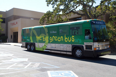 Dartmouth's Big Green Bus near the Tesla lobby.