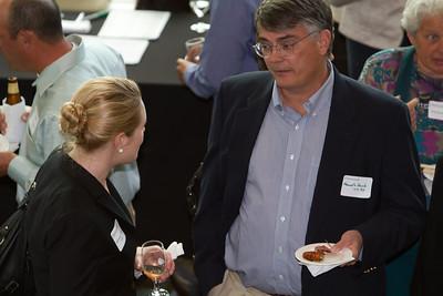 Ken Hauck E'85 talk with DAASV board member Katherine Loarie T'09.