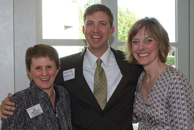 Sue Young '77 P'10, Jake Hobson '95, and