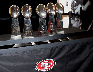 The trophies were polished, ready for 49er faithful appreciation. (C) George Hamma 2013