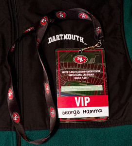 Everyone attending received a souvenir badge and 49ers strap. (C) George Hamma 2013