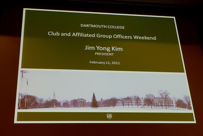 Next, the CAGOW attendees received a presentation by Dartmouth College President Jim Yong Kim.