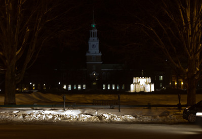 CAGOW is during Winter Carnival, obviously a special weekend as the green light is on in the tower - beyond the castle sculpture on the Green.