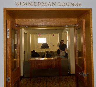 Our first session, to pick up materials kits, sign up for sessions, and get our badges, was in the Zimmerman Lounge in the alumni center.