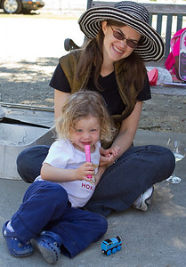 Attendees of all ages came out to enjoy the day. Pictured are  Susan Fisher-Owens MD '92 and daughter Gracie.