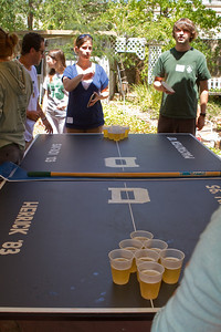 The official DAASV Pong Tournament Table with Alex Steinberg '07 and Sarah Garcia '07.