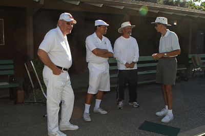 Some lawn club members, including Hank Heubach '61 (left) and John Hickson (right), ready to go.