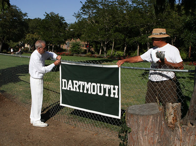 Alan Gaynor '67 sets the scene at the Palo Alto Lawn Bowling Club because it's not official until the Dartmouth banner has been unveiled.