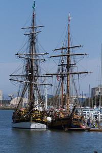 Two tall ships in the Redwood City harbor.