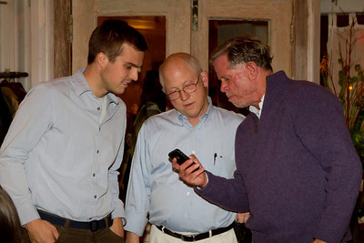 Andrew Flynn's 07 and James von Rittmann '95 display the soon-to-be-released DAASV App to Scott Anthony '70.