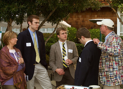 James von Rittmann '95 discusses the finer points of men's apparel.  You never know what you'll learn at these events!  Pictured: Janet Kluczynski '77, Will Hart '12, David Peterson '10, Ethan Weinberg '13, and James von Rittmann '95.