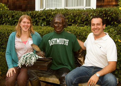"Whitney MacFayden '07 and Scott Safadi '03, Co-Chairs of the Young Alums Committee, attempting to chat up this recently converted Big Green fan, ""Tom""."