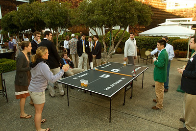 The pong games resumed after the concert — this time, guys against girls.