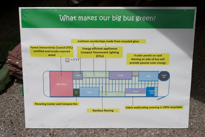 The new bus (replacing the old schoolbus of previous trips) has a much more efficient layout for traveling and presentations.