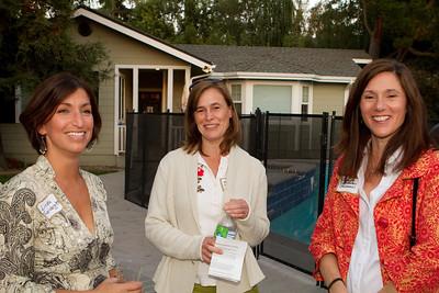 Linda Swenberg greets some parents.