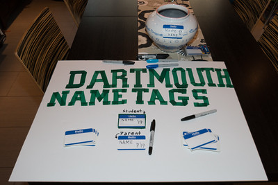 Lessons for first timers on how to identify themselves at Dartmouth events.