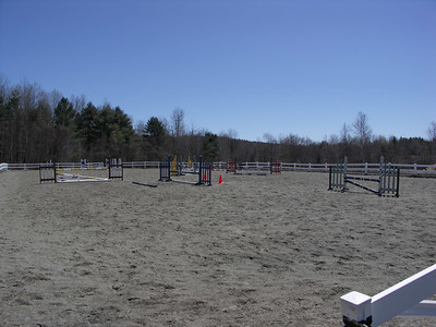 The outdoor jumping arena, ready to go.
