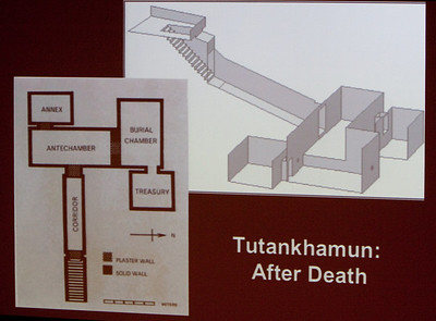 The presentation concluded with a description of Tutankhamun's tomb and its contents.