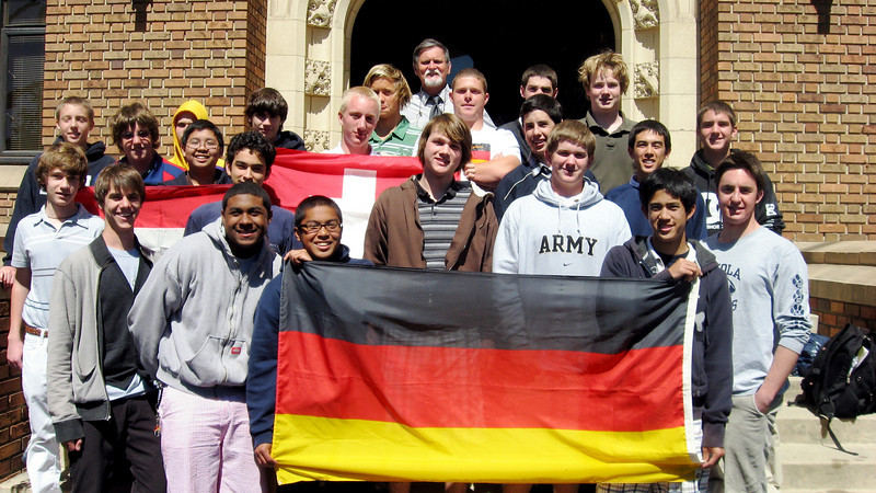German Club picture for 2007-2008 on steps of Loyola Hall, March 17,2008 (Happy St. Pattie's Day). First row, left to right: Julien Wilson, Hugh Augustine, Justin Domingo, Jered Villacorte; second row, Daniel Pienkowski, Jaime Guerrero, Alexander Clark, Viktor Greve, Andrew Schurr, Perry Meek; third row, Chris Johnstone, Chris Miles, Brandon Cating, Erik Stahlheber, Jack Allman, Frank Gasztonyi; fourth row,Jonathan Lowrey, Nicholas Ryan, Michael Holubowski, Nigel Davies (President), Philip Erikkson; back row, Herr Dave McClave (moderator), and Chris Heppell.
