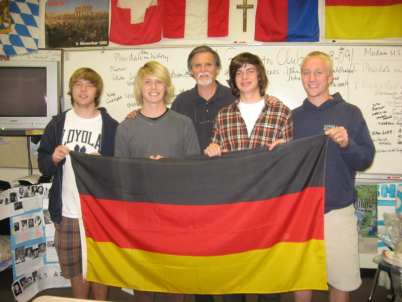 The officers and moderator for the Loyola High School German Club for 2008-2009: Left to right--John Platt-Secretary, John Toy-President, Herr McClave, Martin Reising-Tech Specialist, Erik Stahlheber-Vice President, not in picture Jared Villacorte (Treasurer), 13.3.2009 im Deutschzimmer
