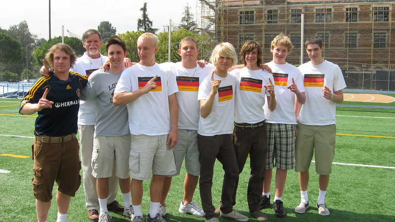 Some members of the German Club pose just before their convincing soccer victory over the Italian Stallions, 4-1. Left to right--Alex Kozela, Moderator Herr Dave McClave, Perry Meek, Secretary Erik Stahlheber, President Nigel Davies, Vice Prez John Toy, Martin Reising, Philip Erikkson, Chris Heppell. Mittagspause, 12.3.08