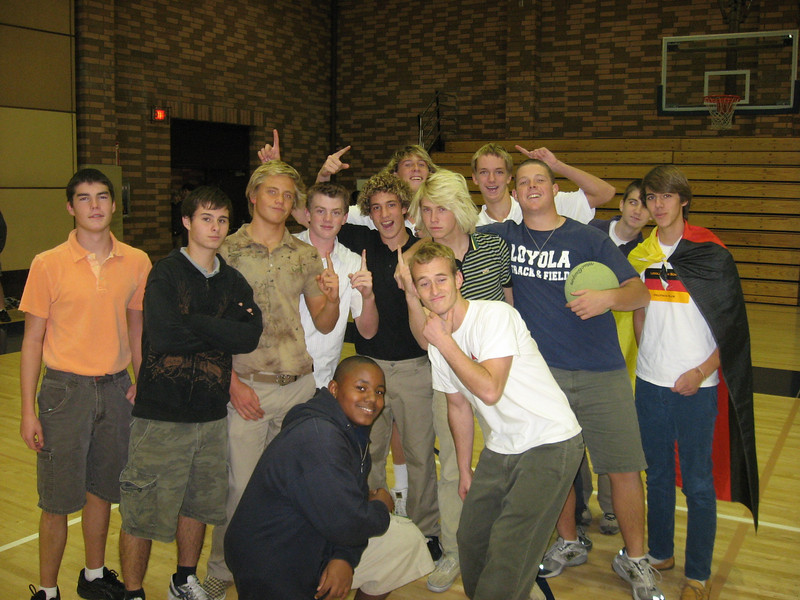 Victorious German Club dodgeball team celebrates after their win over a tough Polish Club team in Leavey Gym in winter 2008. Among those on team were Michael R, Michael H, Jack P, Nikola V, James M, John T, Clayton H, Kyle K, Nigel D (captain), David H, Julien W. Nice cape, Julien!