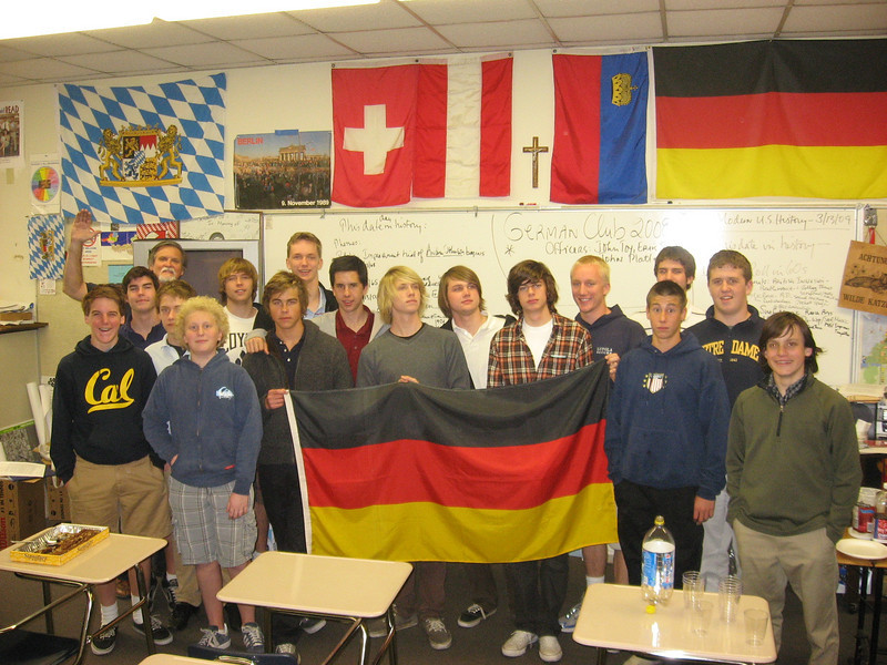 Some members of the Loyola HS German Club pose in German Classroom on 3/13/09--