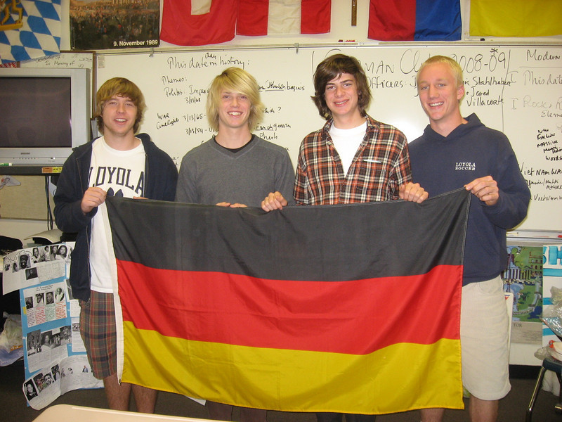 The officers for  2008-2009 Loyola High School German Club: John Platt (left), John Toy, Martin Reising, Erik Stahlheber, 13.3.09. Not pictured, Jared Villacorte.