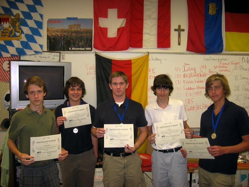 Students who scored in 75%ile on National German Exam were presented with Certificates of Merit by Moderator Herr David McClave on May 20, 2009. Left to right: Daniel Pienkowski, Jonathan Lowery, Viktor Greve, Nich Ryan, and Trenton Ross.