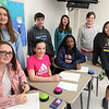 Richardson Middle School, Dracut, Knowledge Bowl team, from left, front: Lily Sigman, Courtney Smith, Abigail Ogwang, and Avalee Nong .  Rear: Kiley Green, Anthony Reppucci, Cassidy Chartier, and Connor Peterson.  Not present: Ben Holmes. (SUN/Julia Malakie)