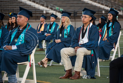 Early College High School graduates are seated for their commencement ceremony held at Christus Trinity Mother Frances Rose Stadium on Thursday, June 4, 2020.