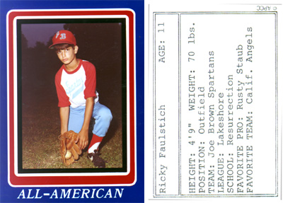 "Little League Baseball Card - Spring, 1983 <br /> Joe Brown Park - New Orleans Recreational Department<br /> Here's one of my little league baseball cards. A whopping 4'9"" and 70 lbs!"