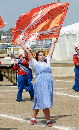 Don Knight | The Herald Bulletin<br /> Emily Meredith performs with Elwood's band during State Fair Band Day competition on Saturday.