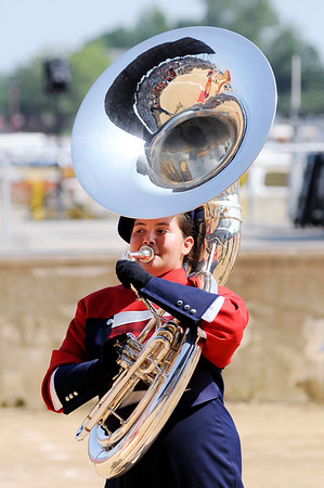 Don Knight | The Herald Bulletin<br /> Elwood's Sydney Scott switched from trombone to tuba this summer when the Marching Panthers neaded a tuba player.