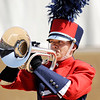 Don Knight | The Herald Bulletin<br /> Elwood's Brayden Alfrey plays a solo on mellophone during Indiana State Fair Band Day on Saturday.