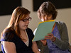 Joy Young and Karen Mockler go over their presentation before the 10th annual End of the Year Student Show that was held in the Brattleboro Union High School's multi-purpose room on Wednesday, June 15, 2016. Kristopher Radder / Reformer Staff