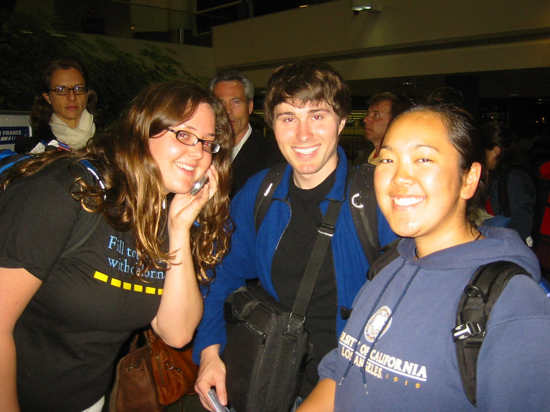 Betsy, Dave, and Jess K. in the security line at LAX's Terminal 2.