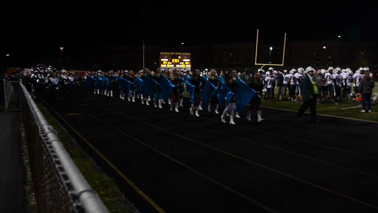 This is a video of the band marching back to the stands after the 1/2 time performance in their costumes.