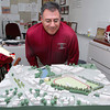 Athletic Director Ray Cosenza, who is also a member of the Crocker Field Restoration Committee, shows off a 3D model of what the facility would look like after all renovations are completed in his office at Fitchburg High School on Friday morning. SENTINEL & ENTERPRISE/JOHN LOVE