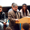 State Rep. Stephen DiNatale talks to Fitchburg High School students during an assembly put on by MOC Peer Educators, including Robert Aguero, 16, of FHS (back left), Analuisa Herrera (not visible), 17, of Monty Tech, and Marymar Perez (back right), 17, of Goodrich St. Academy School Tuesday. The event was part of the National Drug Facts Week and served as a way to raise awareness about the scientific risks that substance abuse and addiction pose on personal health.<br /> SENTINEL & ENTERPRISE / BRETT CRAWFORD