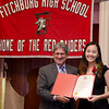 Fitchburg Mayor Stephen DiNatale presents Thu Nguyen with an award during the FHS Scholars' Banquet on Wednesday evening at the DoubleTree by Hilton Hotel in Leominster. SENTINEL & ENTERPRISE / Ashley Green