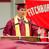 Class President Matthew Badagliacca addresses his classmates during the 150th Fitchburg High graduation ceremony on Friday afternoon. SENTINEL & ENTERPRISE / Ashley Green